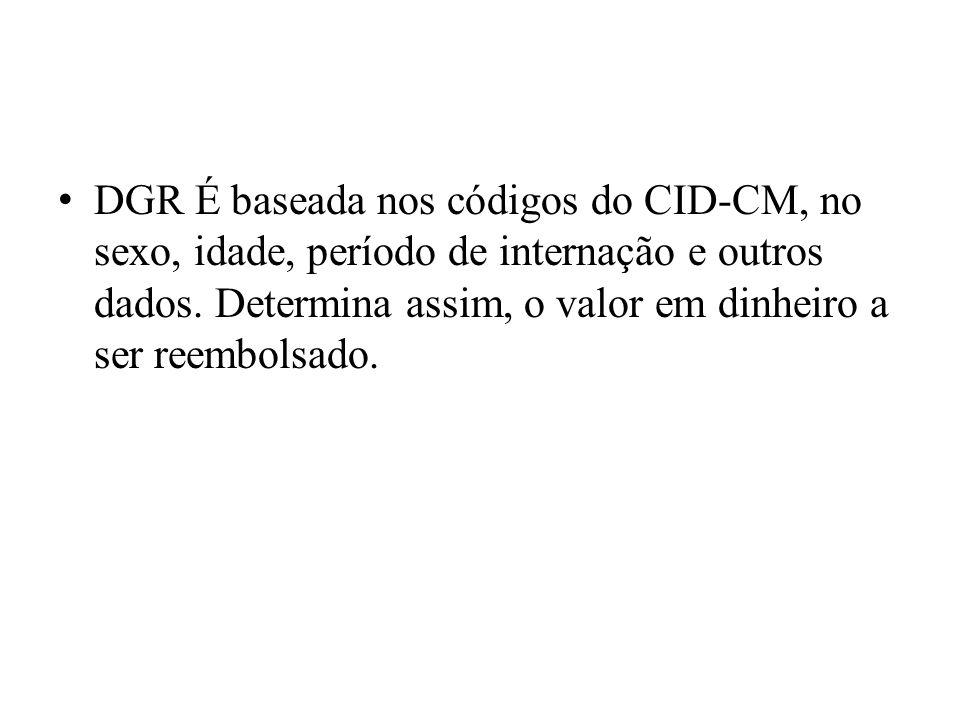 DGR É baseada nos códigos do CID-CM, no sexo, idade, período de internação e outros dados. Determina assim, o valor em dinheiro a ser reembolsado.