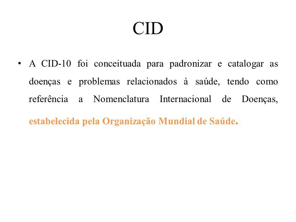 CID A CID-10 foi conceituada para padronizar e catalogar as doenças e problemas relacionados à saúde, tendo como referência a Nomenclatura Internacion