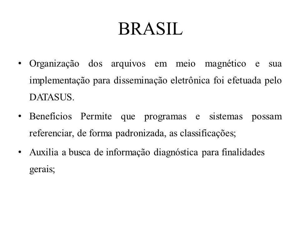BRASIL Organização dos arquivos em meio magnético e sua implementação para disseminação eletrônica foi efetuada pelo DATASUS. Benefícios Permite que p