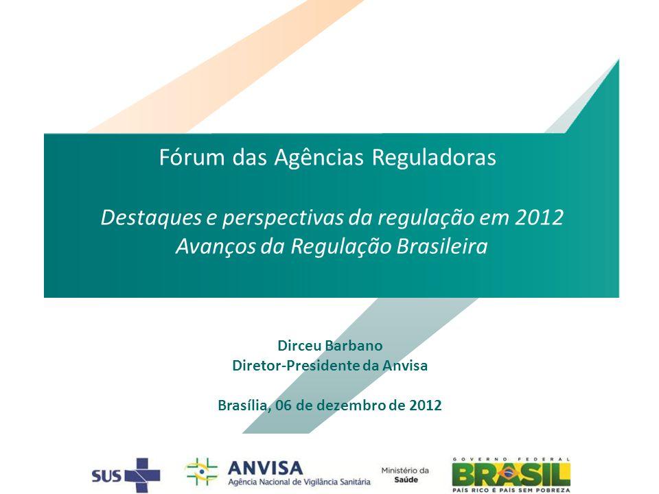 Dirceu Barbano Diretor-Presidente da Anvisa Brasília, 06 de dezembro de 2012 Fórum das Agências Reguladoras Destaques e perspectivas da regulação em 2