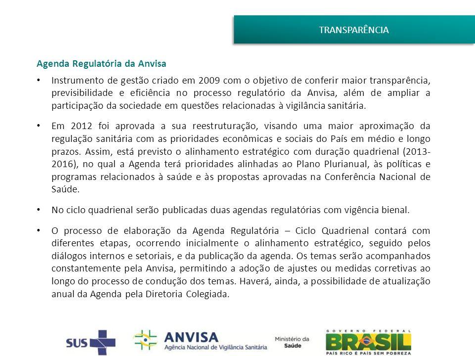 TRANSPARÊNCIA Agenda Regulatória da Anvisa Instrumento de gestão criado em 2009 com o objetivo de conferir maior transparência, previsibilidade e efic
