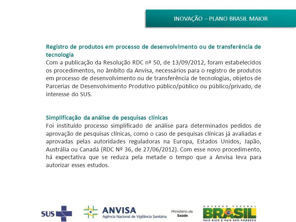 INOVAÇÃO – PLANO BRASIL MAIOR Registro de produtos em processo de desenvolvimento ou de transferência de tecnologia Com a publicação da Resolução RDC