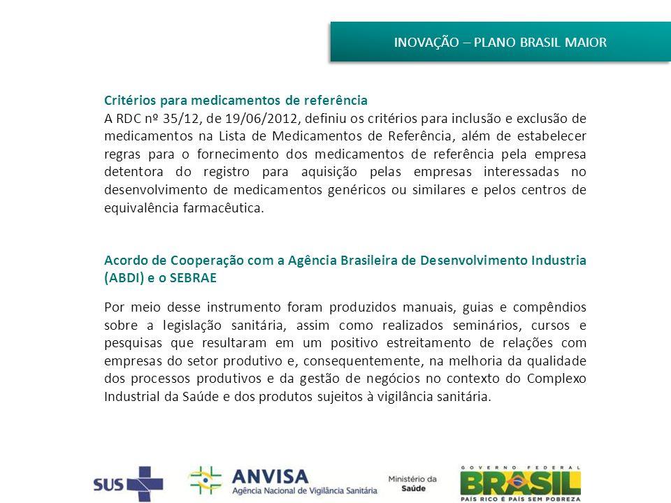 INOVAÇÃO – PLANO BRASIL MAIOR Critérios para medicamentos de referência A RDC nº 35/12, de 19/06/2012, definiu os critérios para inclusão e exclusão d