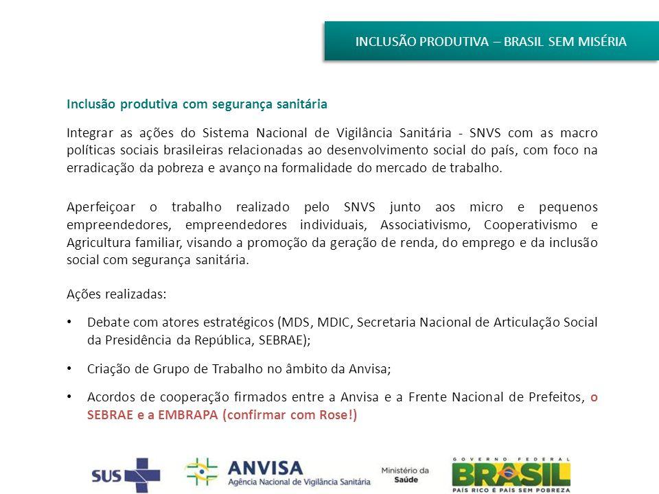 INCLUSÃO PRODUTIVA – BRASIL SEM MISÉRIA Inclusão produtiva com segurança sanitária Integrar as ações do Sistema Nacional de Vigilância Sanitária - SNV