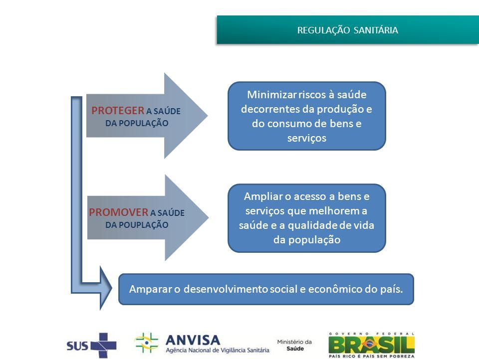 REGULAÇÃO SANITÁRIA PROTEGER A SAÚDE DA POPULAÇÃO Minimizar riscos à saúde decorrentes da produção e do consumo de bens e serviços PROMOVER A SAÚDE DA