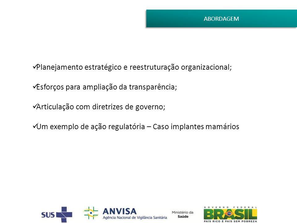 ABORDAGEM Planejamento estratégico e reestruturação organizacional; Esforços para ampliação da transparência; Articulação com diretrizes de governo; U