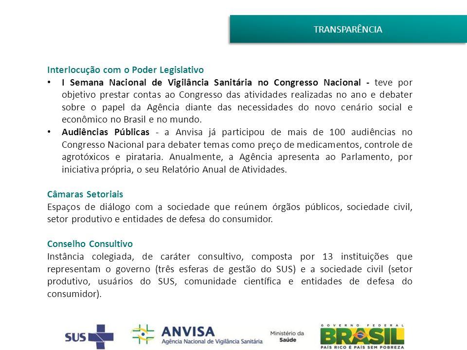 TRANSPARÊNCIA Interlocução com o Poder Legislativo I Semana Nacional de Vigilância Sanitária no Congresso Nacional - teve por objetivo prestar contas