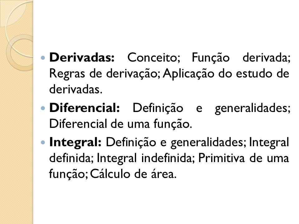 Derivadas: Conceito; Função derivada; Regras de derivação; Aplicação do estudo de derivadas. Diferencial: Definição e generalidades; Diferencial de um