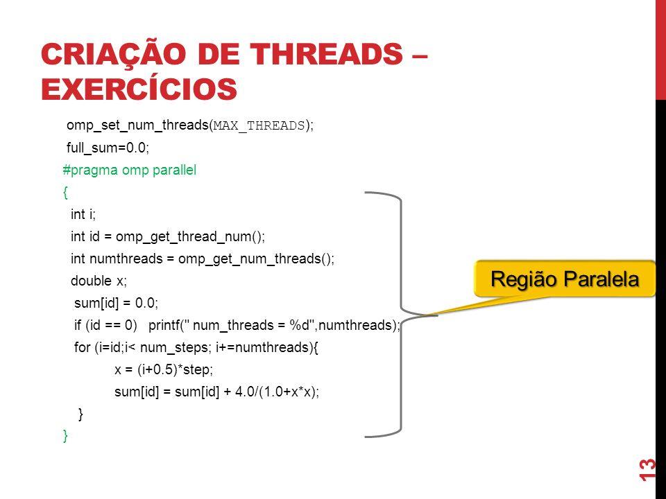 CRIAÇÃO DE THREADS – EXERCÍCIOS omp_set_num_threads( MAX_THREADS ); full_sum=0.0; #pragma omp parallel { int i; int id = omp_get_thread_num(); int num