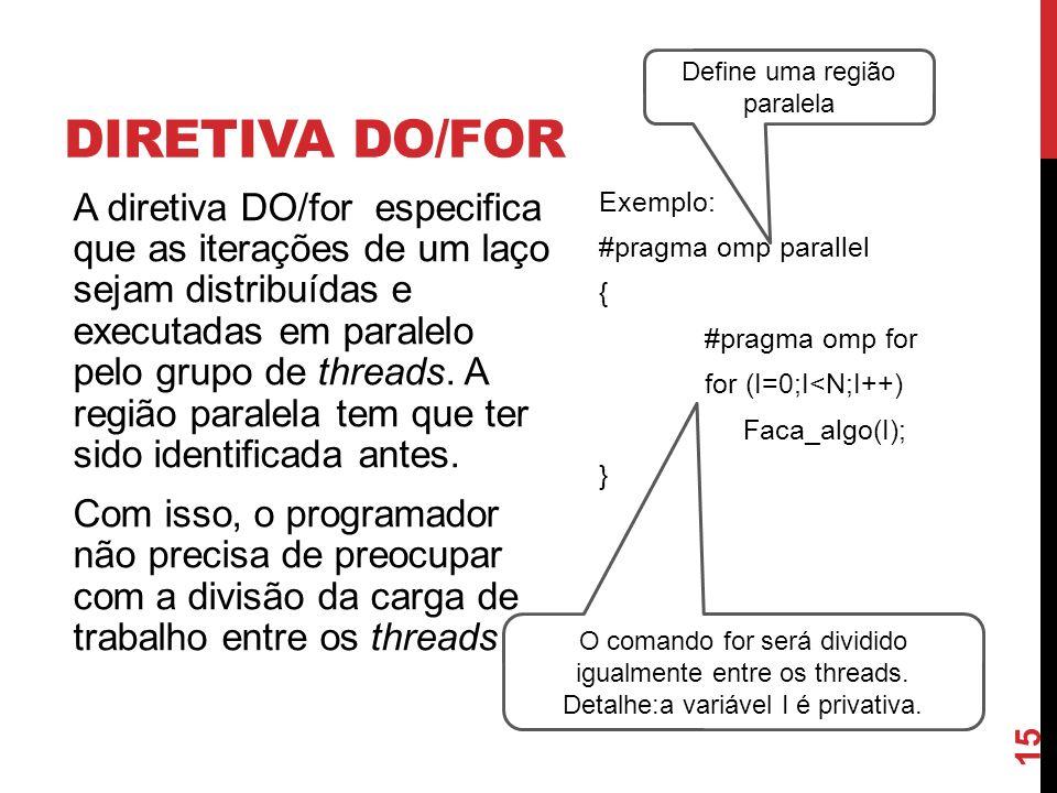 DIRETIVA DO/FOR A diretiva DO/for especifica que as iterações de um laço sejam distribuídas e executadas em paralelo pelo grupo de threads. A região p