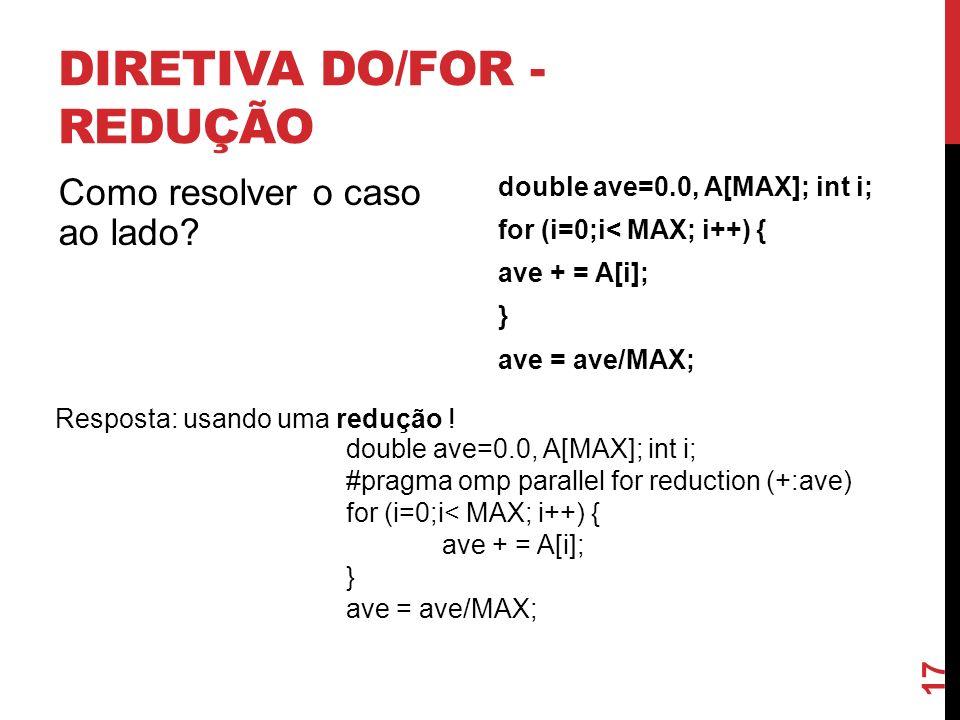 DIRETIVA DO/FOR - REDUÇÃO Como resolver o caso ao lado? double ave=0.0, A[MAX]; int i; for (i=0;i< MAX; i++) { ave + = A[i]; } ave = ave/MAX; Resposta