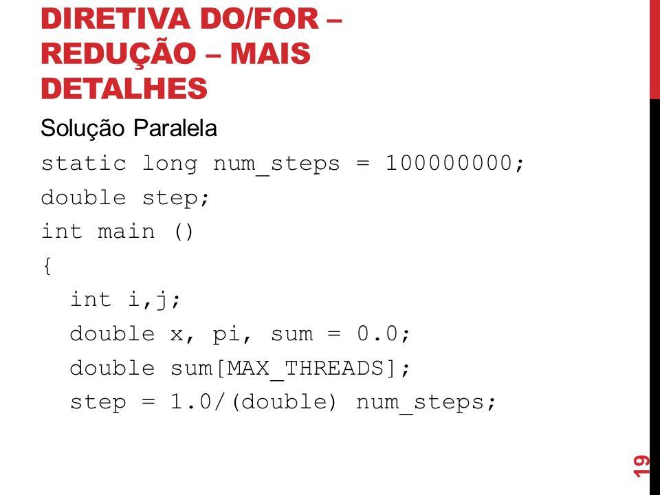 DIRETIVA DO/FOR – REDUÇÃO – MAIS DETALHES Solução Paralela static long num_steps = 100000000; double step; int main () { int i,j; double x, pi, sum =