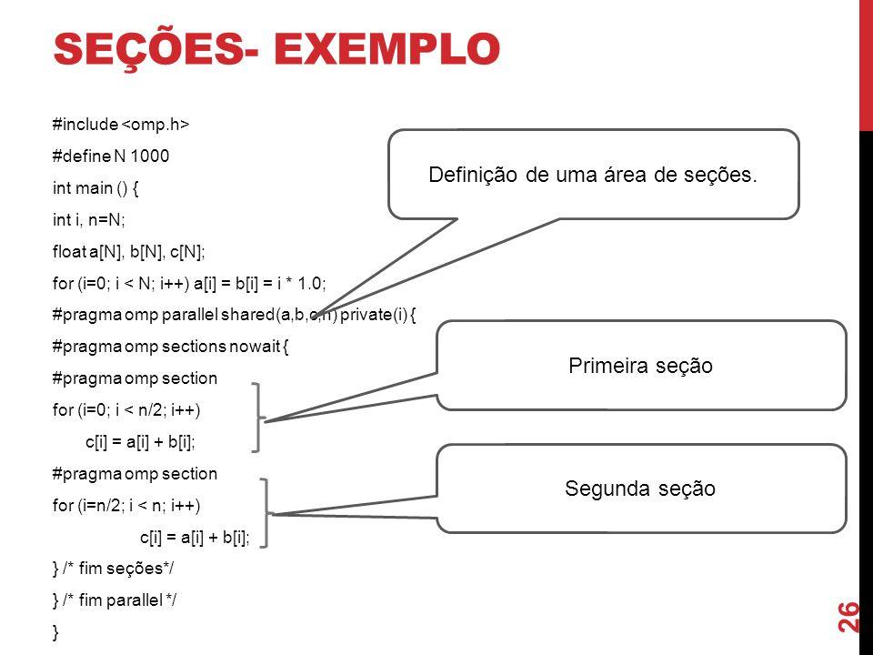 SEÇÕES- EXEMPLO #include #define N 1000 int main () { int i, n=N; float a[N], b[N], c[N]; for (i=0; i < N; i++) a[i] = b[i] = i * 1.0; #pragma omp par