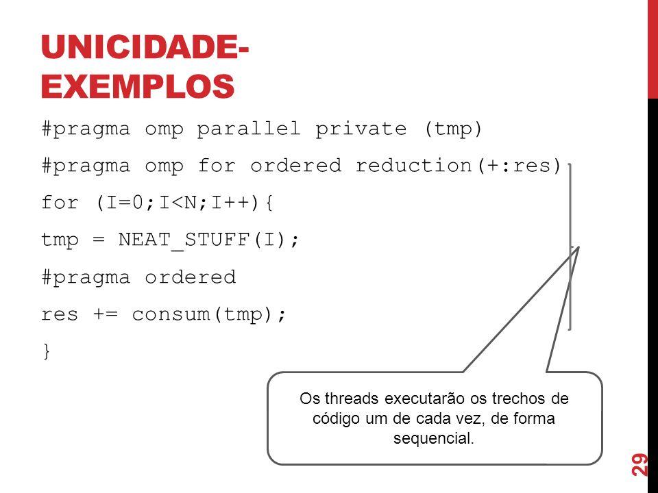 UNICIDADE- EXEMPLOS #pragma omp parallel private (tmp) #pragma omp for ordered reduction(+:res) for (I=0;I<N;I++){ tmp = NEAT_STUFF(I); #pragma ordere