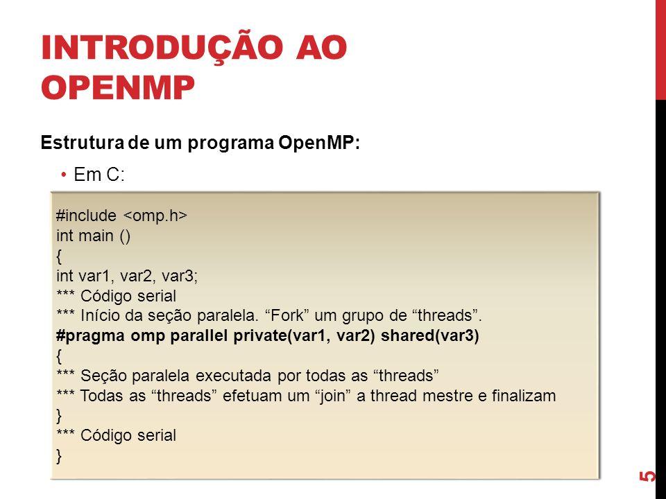 INTRODUÇÃO AO OPENMP Estrutura de um programa OpenMP: Em C: 5 #include int main () { int var1, var2, var3; *** Código serial *** Início da seção paral