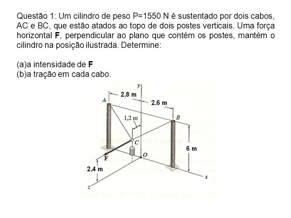 Questão 1: Um cilindro de peso P=1550 N é sustentado por dois cabos, AC e BC, que estão atados ao topo de dois postes verticais. Uma força horizontal