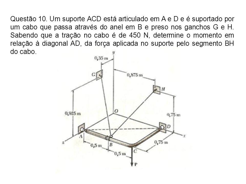 Questão 10. Um suporte ACD está articulado em A e D e é suportado por um cabo que passa através do anel em B e preso nos ganchos G e H. Sabendo que a