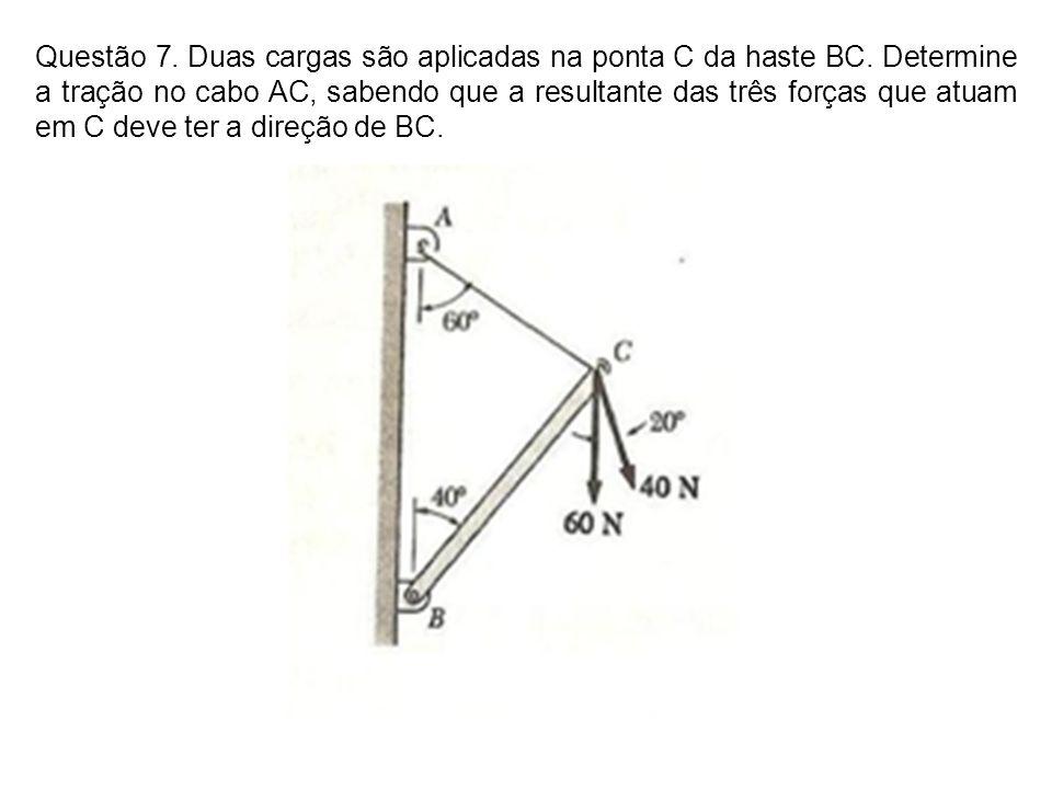 Questão 7. Duas cargas são aplicadas na ponta C da haste BC. Determine a tração no cabo AC, sabendo que a resultante das três forças que atuam em C de