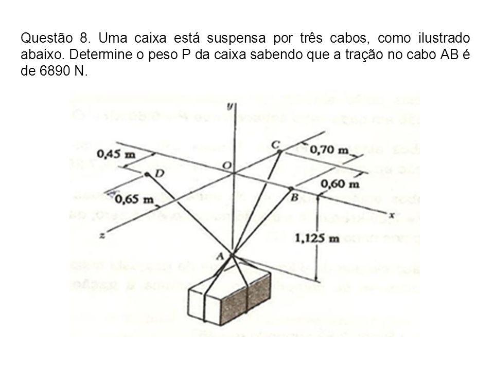 Questão 8. Uma caixa está suspensa por três cabos, como ilustrado abaixo. Determine o peso P da caixa sabendo que a tração no cabo AB é de 6890 N.