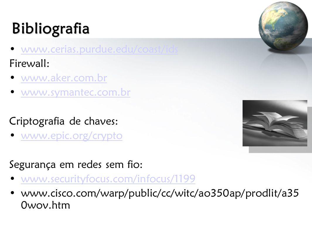 Bibliografia www.cerias.purdue.edu/coast/ids Firewall: www.aker.com.br www.symantec.com.br Criptografia de chaves: www.epic.org/crypto Segurança em re