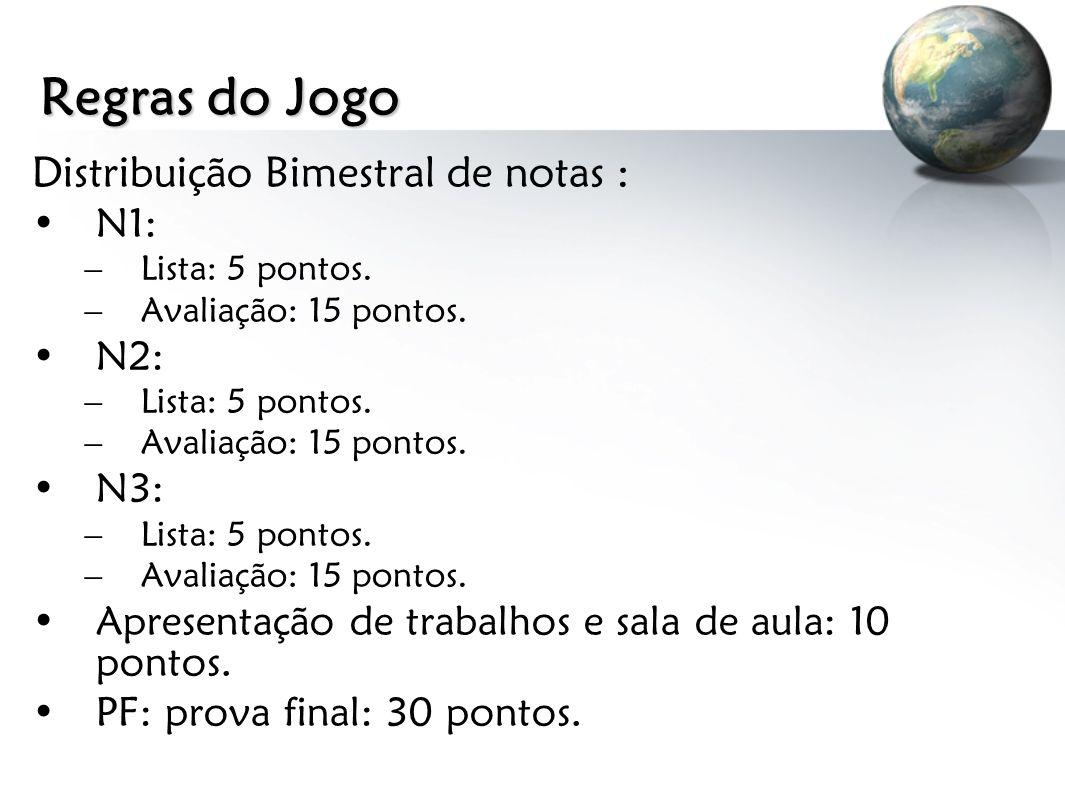Regras do Jogo Distribuição Bimestral de notas : N1: –Lista: 5 pontos. –Avaliação: 15 pontos. N2: –Lista: 5 pontos. –Avaliação: 15 pontos. N3: –Lista: