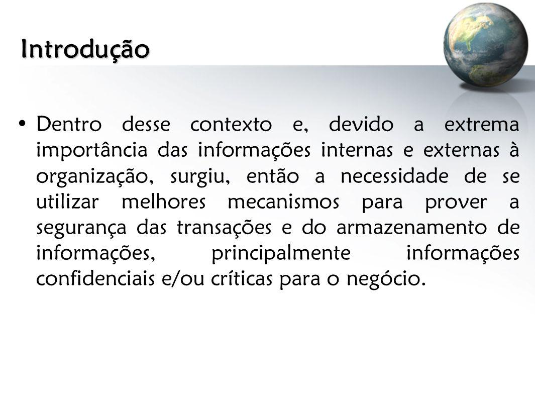 Introdução Dentro desse contexto e, devido a extrema importância das informações internas e externas à organização, surgiu, então a necessidade de se