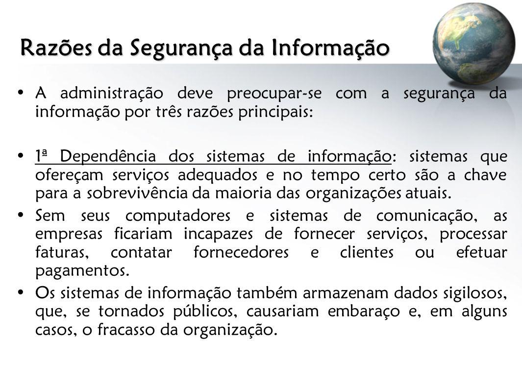 Razões da Segurança da Informação A administração deve preocupar-se com a segurança da informação por três razões principais: 1ª Dependência dos siste