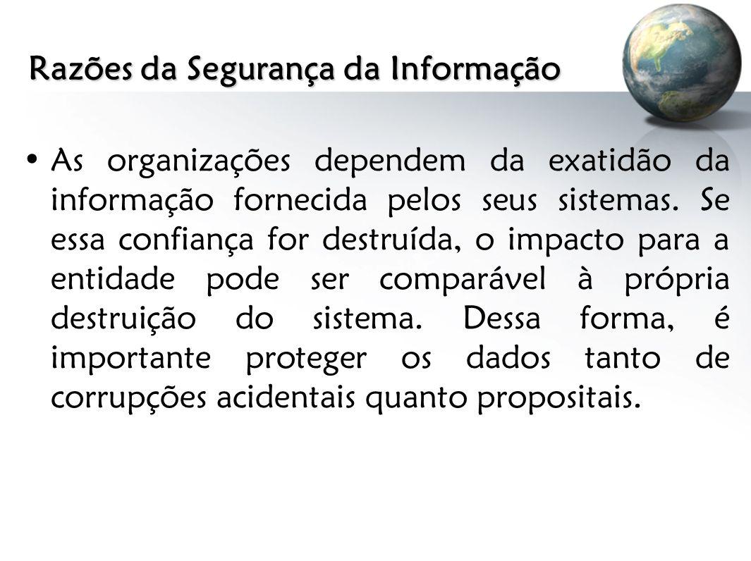 Razões da Segurança da Informação As organizações dependem da exatidão da informação fornecida pelos seus sistemas. Se essa confiança for destruída, o