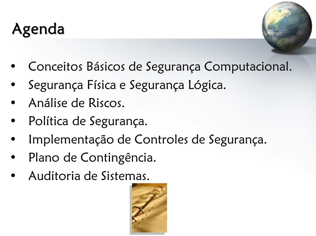 Agenda Conceitos Básicos de Segurança Computacional. Segurança Física e Segurança Lógica. Análise de Riscos. Política de Segurança. Implementação de C
