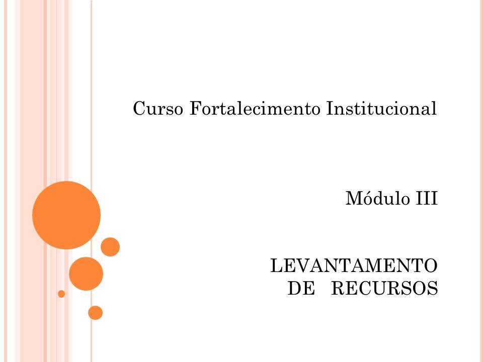 Curso Fortalecimento Institucional Módulo III LEVANTAMENTO DE RECURSOS
