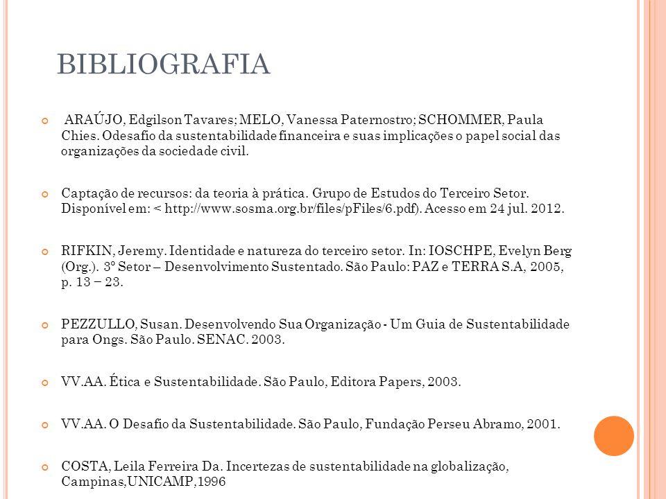 BIBLIOGRAFIA ARAÚJO, Edgilson Tavares; MELO, Vanessa Paternostro; SCHOMMER, Paula Chies. Odesafio da sustentabilidade financeira e suas implicações o