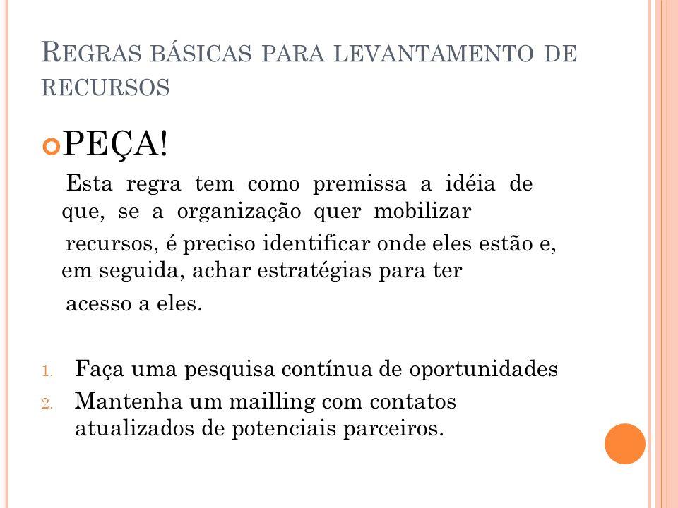 R EGRAS BÁSICAS PARA LEVANTAMENTO DE RECURSOS PEÇA.