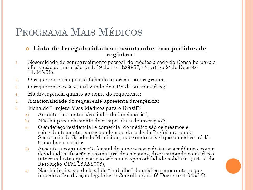 P ROGRAMA M AIS M ÉDICOS Lista de Irregularidades encontradas nos pedidos de registro: 1.