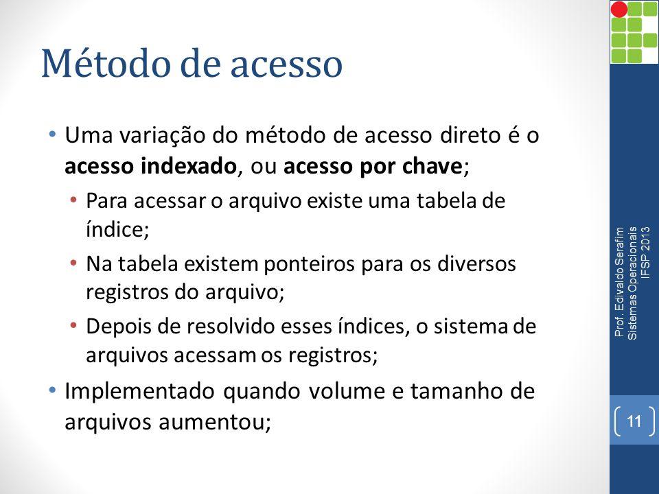 Método de acesso Uma variação do método de acesso direto é o acesso indexado, ou acesso por chave; Para acessar o arquivo existe uma tabela de índice;