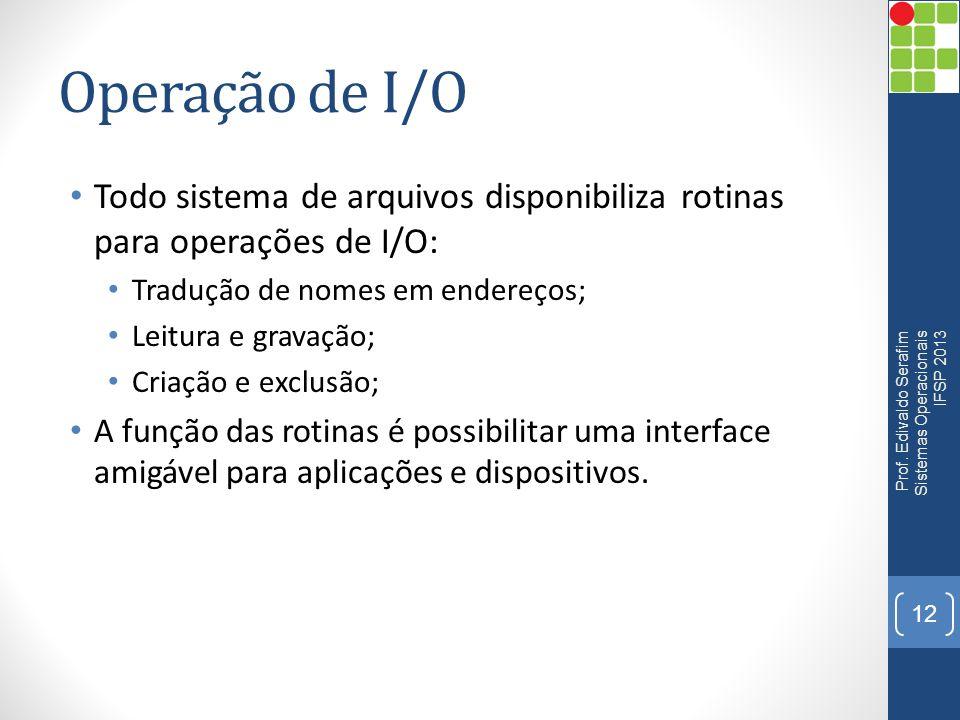 Operação de I/O Todo sistema de arquivos disponibiliza rotinas para operações de I/O: Tradução de nomes em endereços; Leitura e gravação; Criação e ex