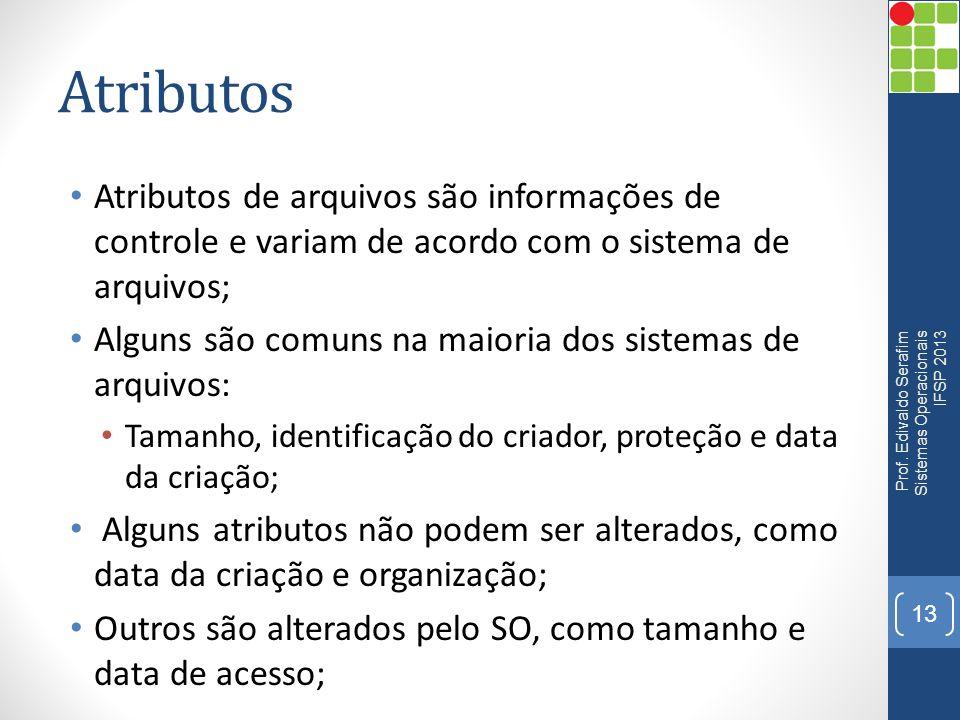 Atributos Atributos de arquivos são informações de controle e variam de acordo com o sistema de arquivos; Alguns são comuns na maioria dos sistemas de