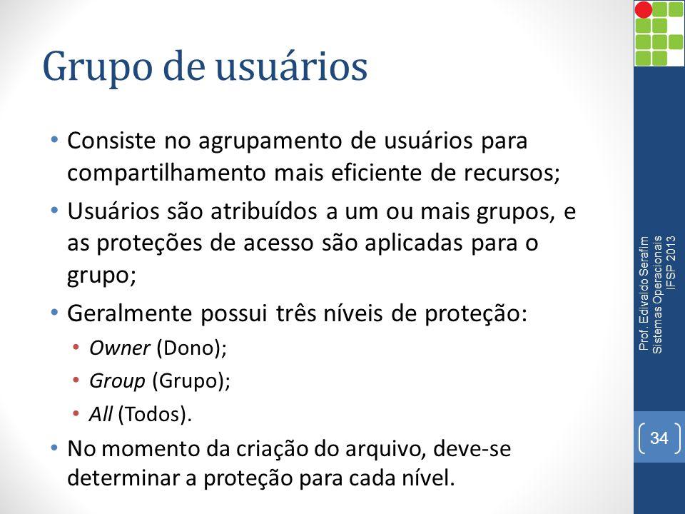 Grupo de usuários Consiste no agrupamento de usuários para compartilhamento mais eficiente de recursos; Usuários são atribuídos a um ou mais grupos, e