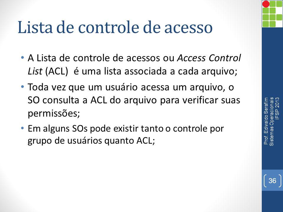 Lista de controle de acesso A Lista de controle de acessos ou Access Control List (ACL)é uma lista associada a cada arquivo; Toda vez que um usuário a