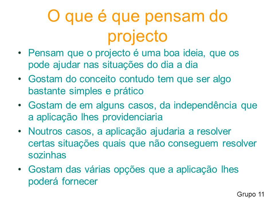 O que é que pensam do projecto Pensam que o projecto é uma boa ideia, que os pode ajudar nas situações do dia a dia Gostam do conceito contudo tem que