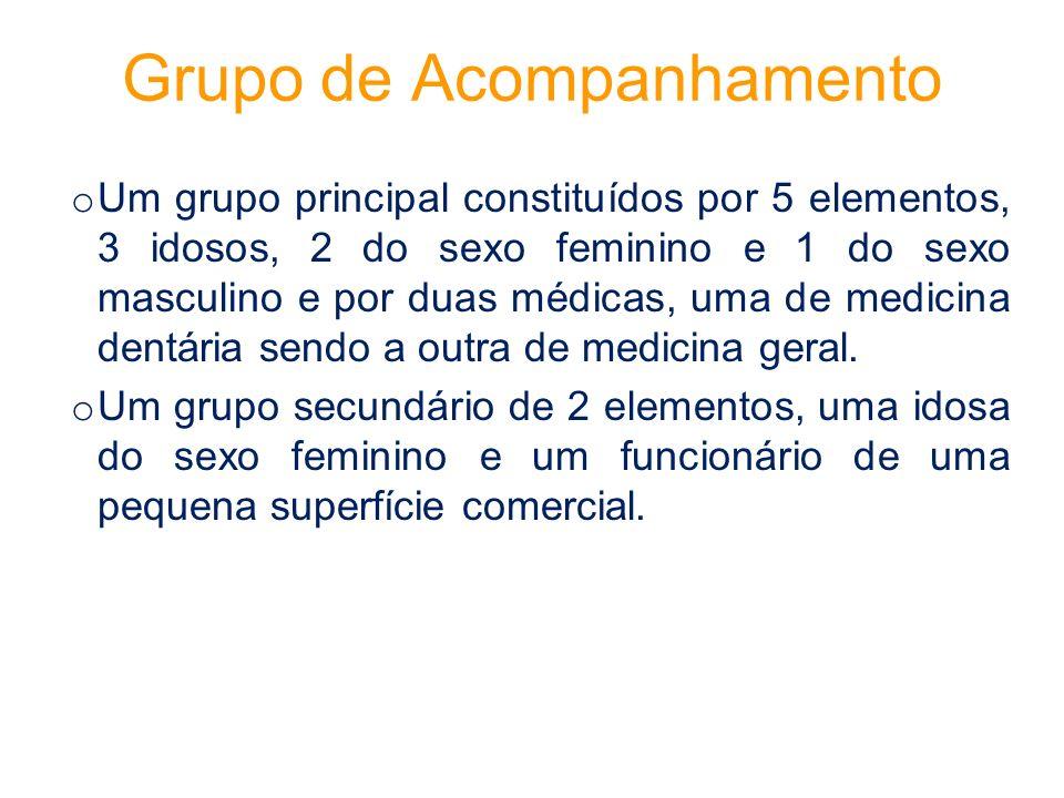 Grupo de Acompanhamento o Um grupo principal constituídos por 5 elementos, 3 idosos, 2 do sexo feminino e 1 do sexo masculino e por duas médicas, uma de medicina dentária sendo a outra de medicina geral.