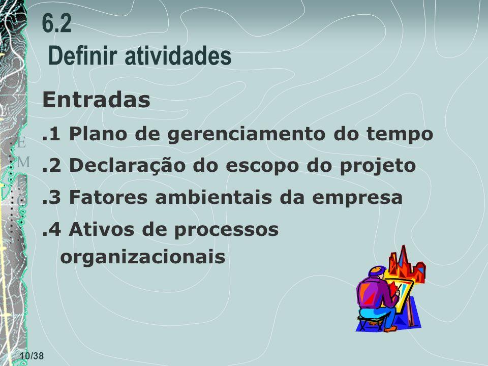 TEMPOTEMPO 10/38 6.2 Definir atividades Entradas.1 Plano de gerenciamento do tempo.2 Declaração do escopo do projeto.3 Fatores ambientais da empresa.4 Ativos de processos organizacionais