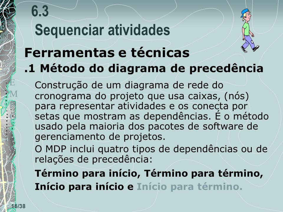 TEMPOTEMPO 16/38 6.3 Sequenciar atividades Ferramentas e técnicas.1 Método do diagrama de precedência Construção de um diagrama de rede do cronograma do projeto que usa caixas, (nós) para representar atividades e os conecta por setas que mostram as dependências.