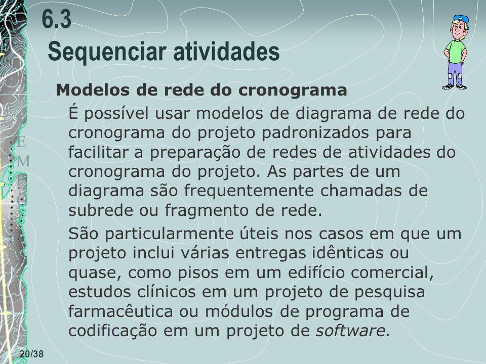 TEMPOTEMPO 20/38 6.3 Sequenciar atividades Modelos de rede do cronograma É possível usar modelos de diagrama de rede do cronograma do projeto padronizados para facilitar a preparação de redes de atividades do cronograma do projeto.