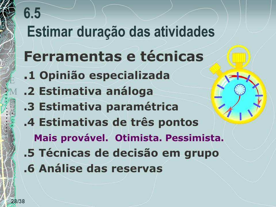 TEMPOTEMPO 28/38 6.5 Estimar duração das atividades Ferramentas e técnicas.