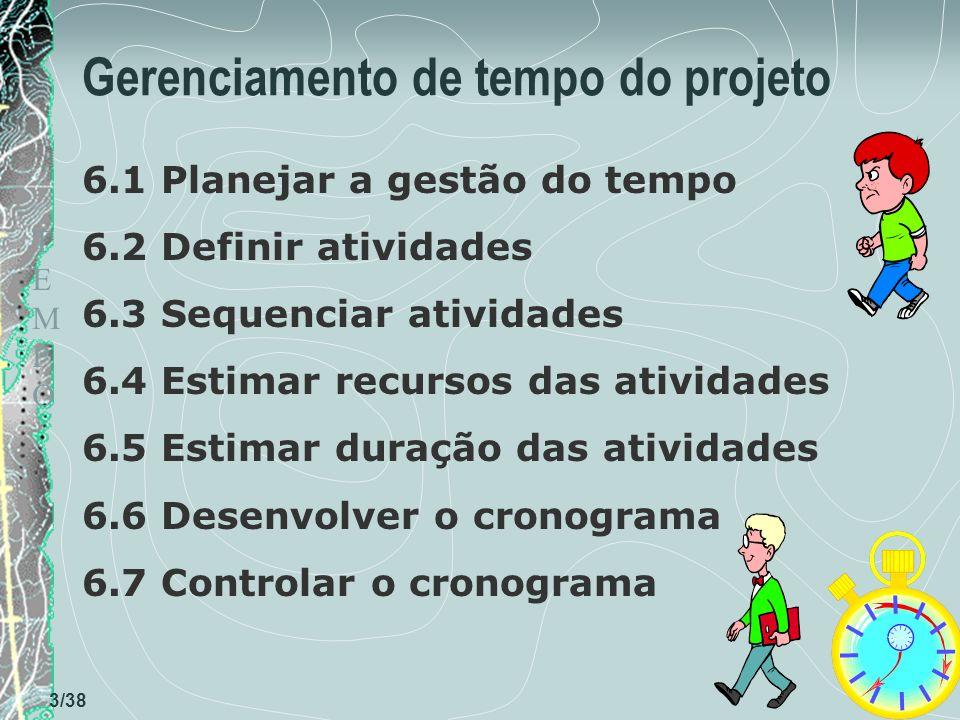 TEMPOTEMPO 3/38 Gerenciamento de tempo do projeto 6.1 Planejar a gestão do tempo 6.2 Definir atividades 6.3 Sequenciar atividades 6.4 Estimar recursos das atividades 6.5 Estimar duração das atividades 6.6 Desenvolver o cronograma 6.7 Controlar o cronograma