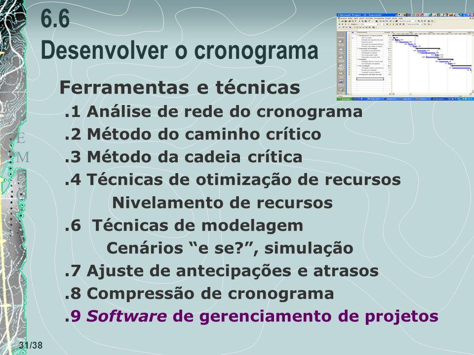 TEMPOTEMPO 31/38 6.6 Desenvolver o cronograma Ferramentas e técnicas.1 Análise de rede do cronograma.2 Método do caminho crítico.3 Método da cadeia crítica.4 Técnicas de otimização de recursos Nivelamento de recursos.6 Técnicas de modelagem Cenários e se?, simulação.7 Ajuste de antecipações e atrasos.8 Compressão de cronograma.9 Software de gerenciamento de projetos