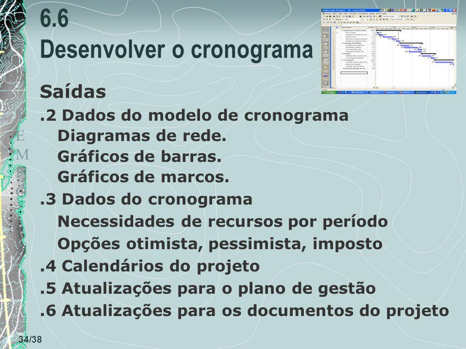 TEMPOTEMPO 34/38 6.6 Desenvolver o cronograma Saídas.2 Dados do modelo de cronograma Diagramas de rede.
