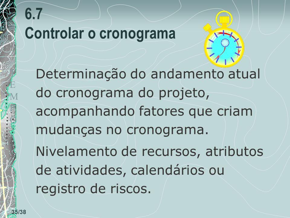 TEMPOTEMPO 35/38 6.7 Controlar o cronograma Determinação do andamento atual do cronograma do projeto, acompanhando fatores que criam mudanças no cronograma.
