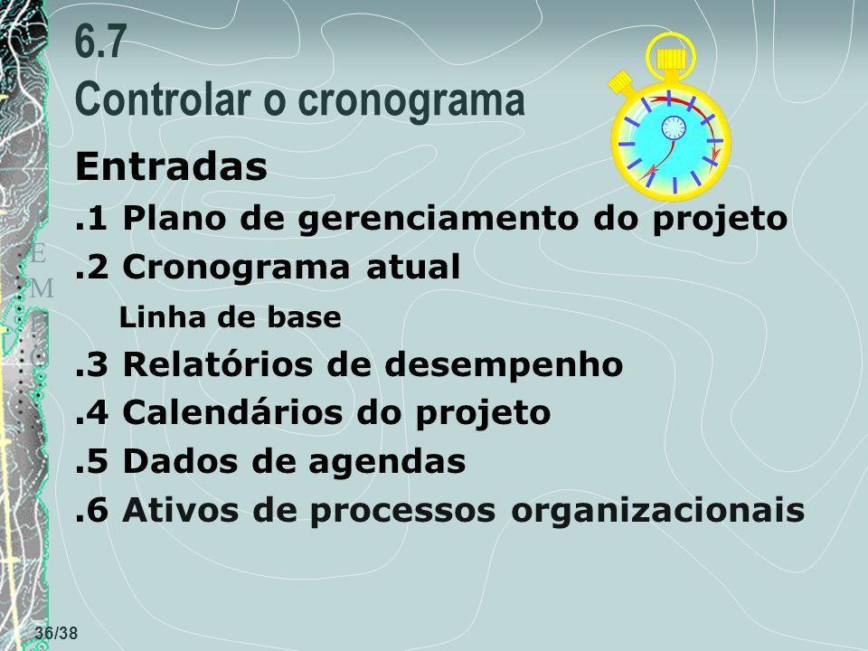 TEMPOTEMPO 36/38 6.7 Controlar o cronograma Entradas.1 Plano de gerenciamento do projeto.2 Cronograma atual Linha de base.3 Relatórios de desempenho.4 Calendários do projeto.5 Dados de agendas.6 Ativos de processos organizacionais