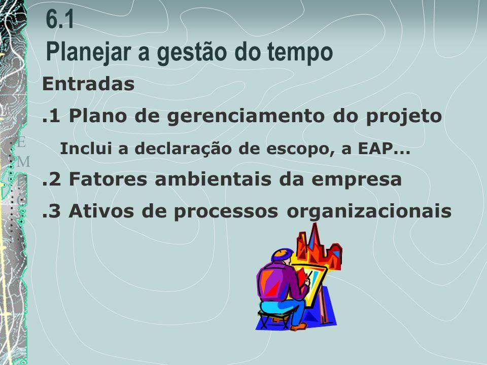 TEMPOTEMPO 6.1 Planejar a gestão do tempo Entradas.1 Plano de gerenciamento do projeto Inclui a declaração de escopo, a EAP....2 Fatores ambientais da empresa.3 Ativos de processos organizacionais